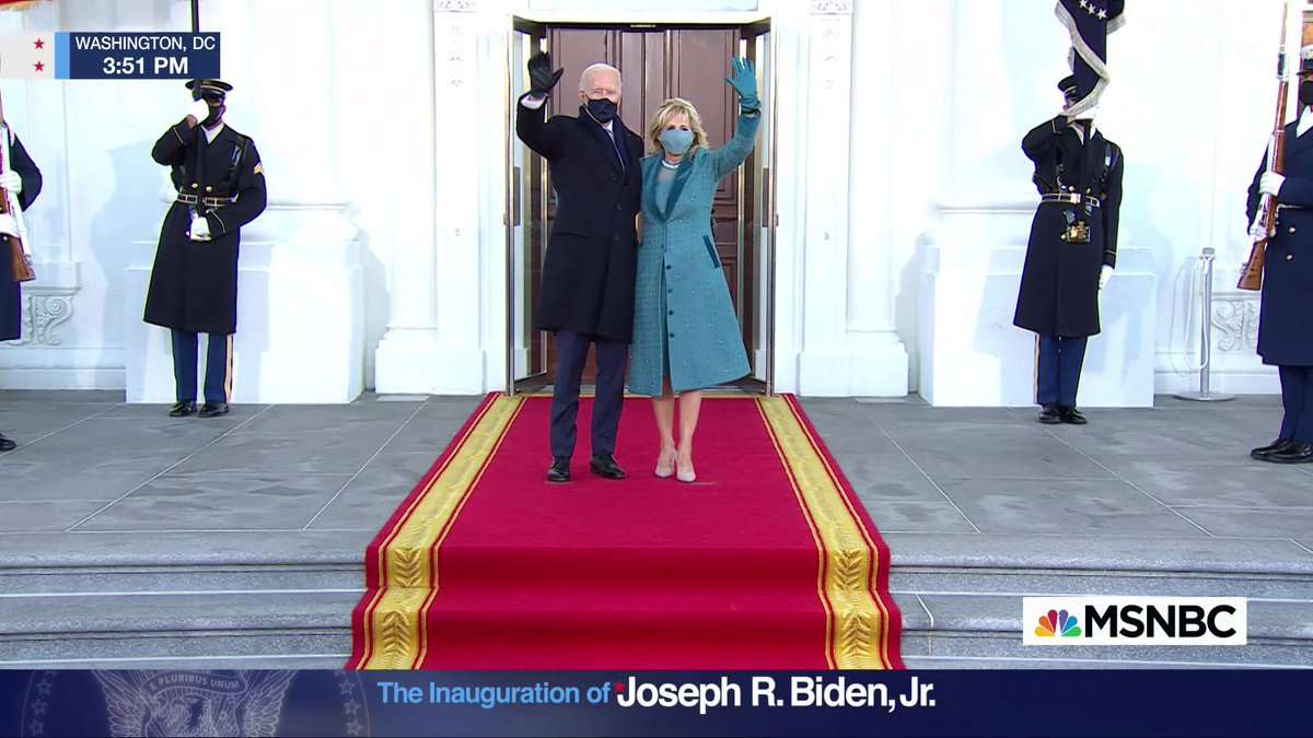 WATCH: President Biden walks into the White House for the first time as the 46th president of the United States.