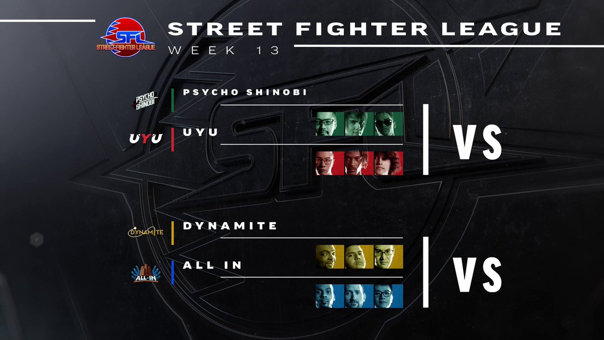 Come root for your favorite Street Fighter League teams this Thursday!   This week's matches: • Psycho Shinobi vs @UYU  • All In vs Dynamite  Thursdays at 4PM PST 📺:  ▶️:   #SFL2020