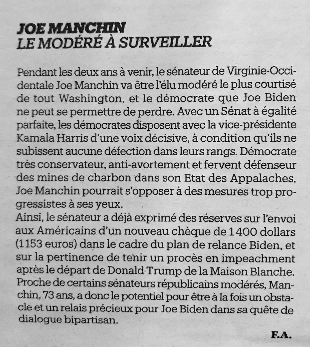 Présenté par @Libe comme «un #modéré», Joe #Manchin qui est «anti-#avortement» et «fervent défenseur des mines de #charbon», aurait eu, en France, toute sa place au sein de la République en marche, mouvement attrape-tout. Il y aurait d'ailleurs brillé, à n'en pas douter.