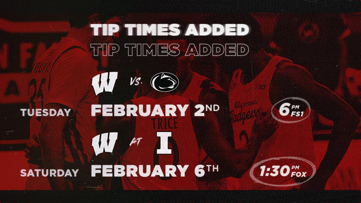 Replying to @BadgerMBB: 🗓 SCHEDULE UPDATE 🗓  Tip times for Feb. 2 and Feb. 6