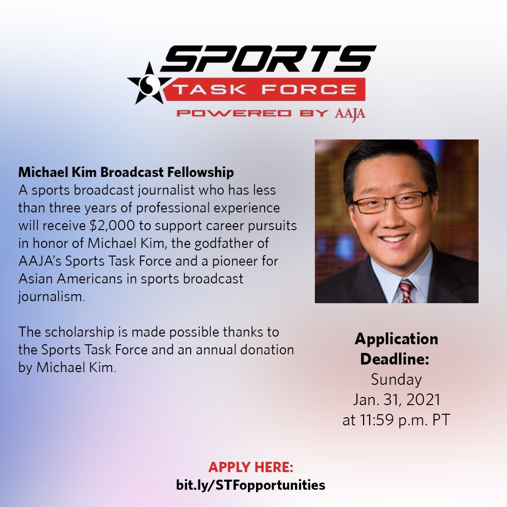 We are so proud to introduce this year an opportunity for early-career sports broadcast journos in the name of @michaelkimHD.  Michael's been a mentor to so many in @aaja. To us, he will always be #TheGodfather.  $2000 can go a long way!  Jan31 deadline: https://t.co/Oe7xsOoo7H https://t.co/gxLubYWoFn