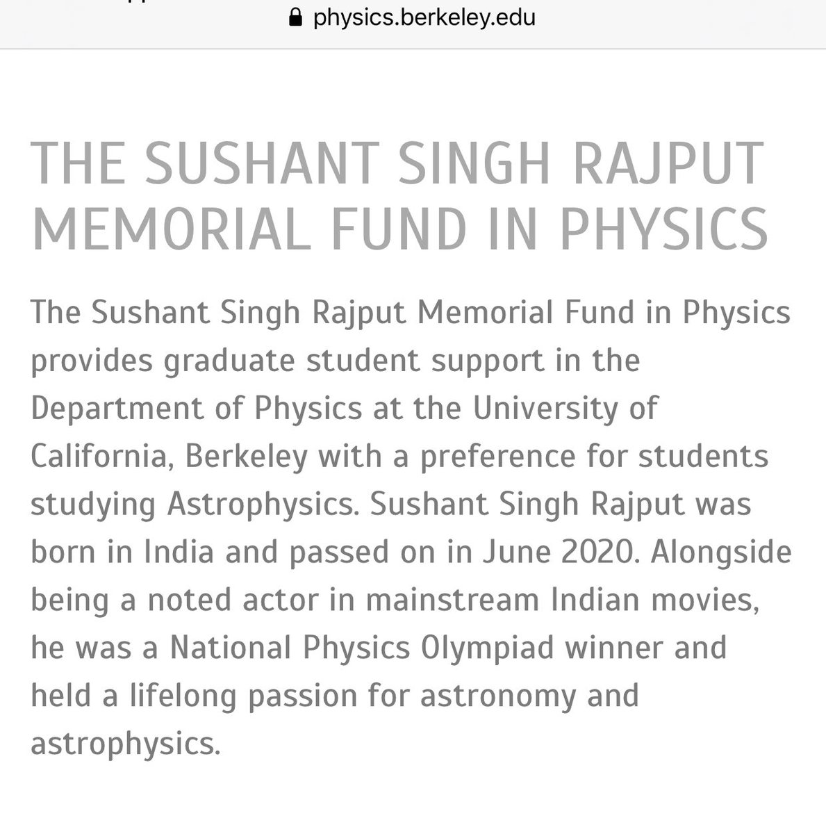 Anyone interested in pursuing Astrophysics at UC Berkeley can apply for this fund. Grateful to the Angels who made it possible. 🙏 Happy Birthday my little Brother, I hope you always stay happy wherever you are! Love You ❤️#SushantDay
