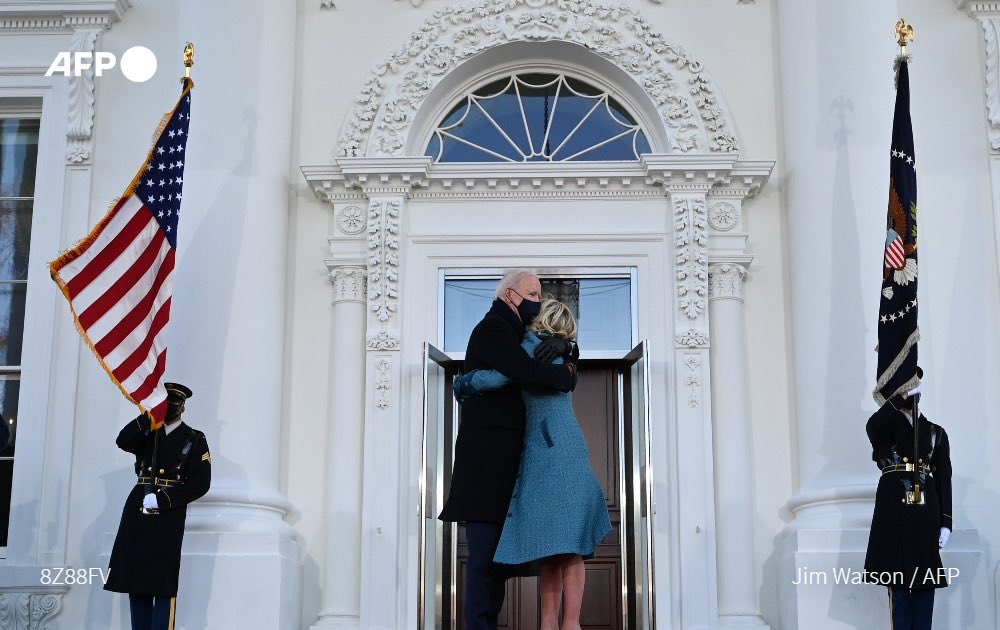 President Joe Biden and First Lady Dr. Jill Biden pause for a hug before entering their new home.   🥰