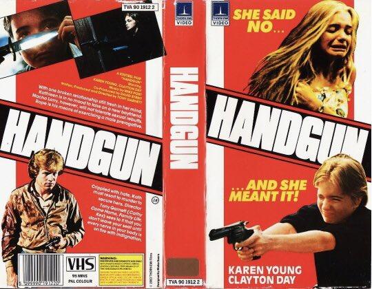 Original rental vhs artwork of the film #Handgun starring Karen Young and directed by Tony Garnett #Tbt #artwork