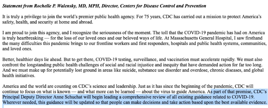 JUST IN—Biden's new CDC Director @RWalensky announces that CDC will review all of its #COVID19 guidances.  School risk? Airborne transmission risks? Workplace safety? Church safety? Quarantine rules? Rapid testing? Distance rules? Travel risks on planes, buses, trains?  so much!
