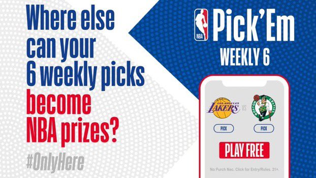 Predict the winner of 6 NBA games every week ‼️  Play Weekly 6 to have the chance to win awesome #NBAprizes    https://t.co/TW5uYVxFwH ↩️ https://t.co/7Ksngp5un5