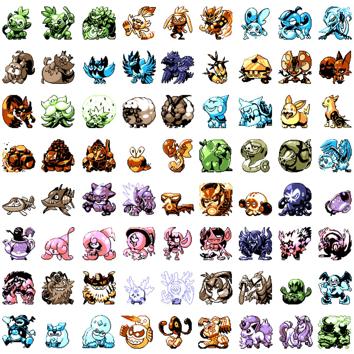 (Of course I posted the wrong version) NOW here are all of the Pokemon from generation 8 in pixel form... #pixelart #pixelartist  #pokemon #nintendo #NintendoSwitch #pokemon25 #gameboy