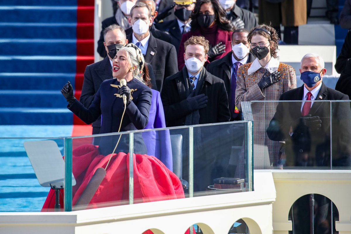 🎶 GRAMMY winner @ladygaga performed the National Anthem during today's #InaugurationDay.   Who else was watching?