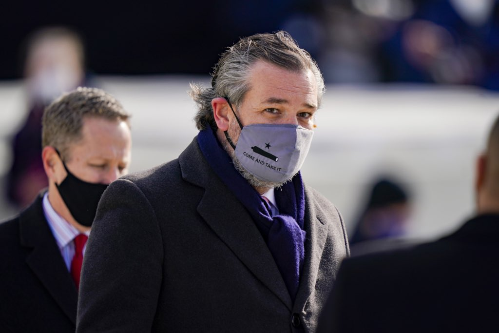 """That Ted Cruz would wear a """"Come And Take It"""" mask to President Biden's inauguration - especially when Biden and Harris are the target of assassination threats - tells you everything you need to know about this pathetic man."""