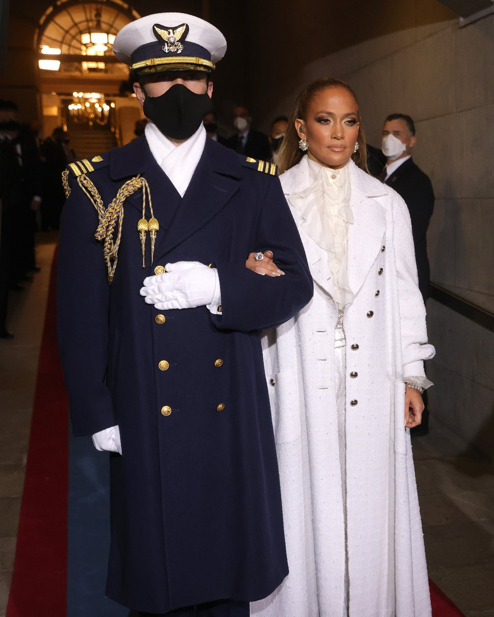 """.@JLo wore @CHANEL at the presidential inauguration.  """"No, you don't understand. I'm obsessed 😭 ❤️"""" Photo: Win McNamee/@GettyImages"""