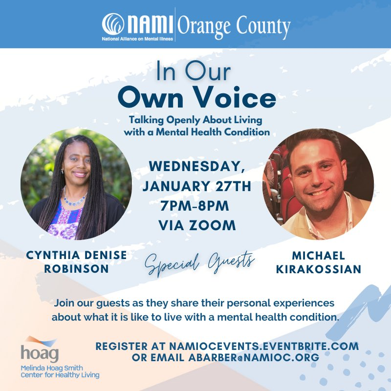 "In the fight to combat #mentalhealth stigma, join us for ""In Our Own Voice"" next Wednesday, January 27th via Zoom at 7pm.   Hearing someone else's story could help you in your own #recovery.   Register here:   #wellnesswednesday #orangecounty #oc"