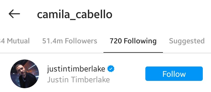 .@Camila_Cabello started following Justin Timberlake on Instagram.