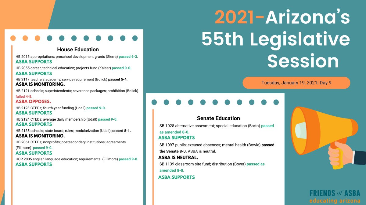 #ICYMI Here's the latest on #azleg #education bills from yesterday's #AZHouse & #AZSenate ed meetings. FYI @AzSBA's software lets you track education bills as they move through the process + notes ASBA's position. BILL TRACKER 👉🏽
