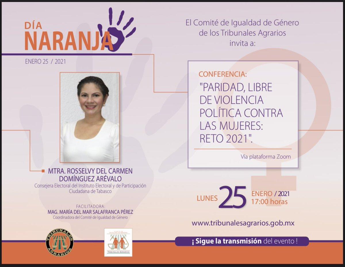 Este lunes es día 25 y por lo tanto día naranja! En el Comité de igualdad de género de los Tribunales Agrarios, hemos preparado esta actividad, para conocer sobre violencia política en razón de género, ojalá puedan acompañarnos!