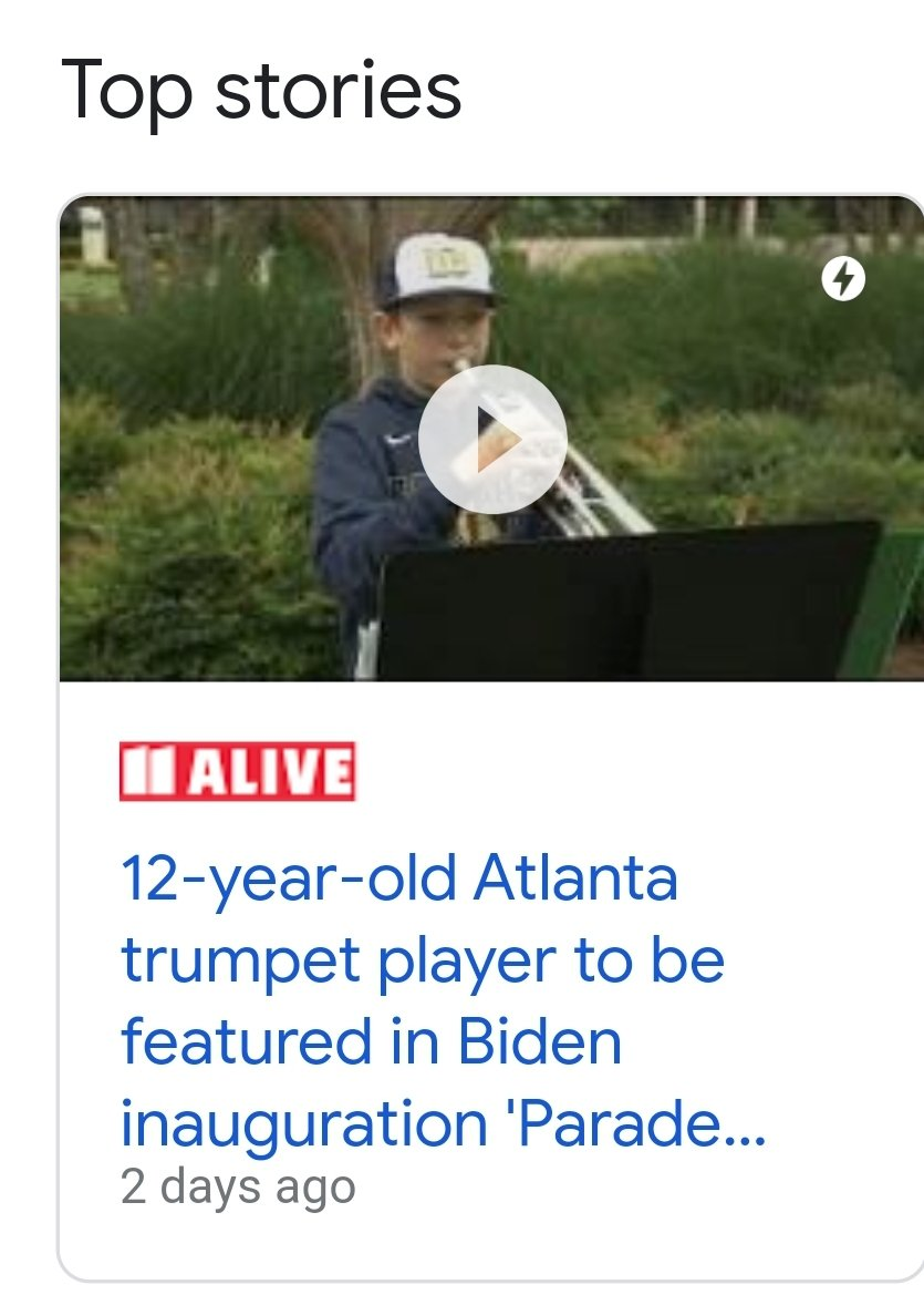 #WNC  #NC #AVL #grateful college student in Asheville North Carolina @Vito_Bell #follow this #American #awesome #trumpetplayer 12-year-old #Atlanta trumpet player to be featured in Biden #inauguration #Parade Across America' The #virtual parade  #YouTube