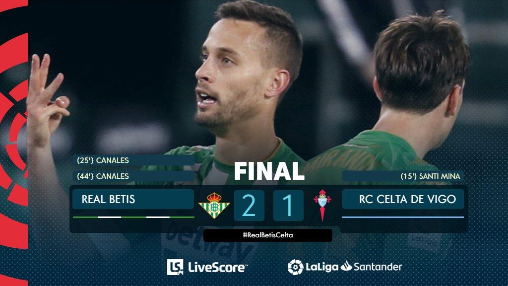 FINAL #RealBetisCelta 2-1  ¡➕3⃣ puntos, @RealBetis! 😀💚  #ResultadosLS #LaLigaSantander  #HayQueVivirla