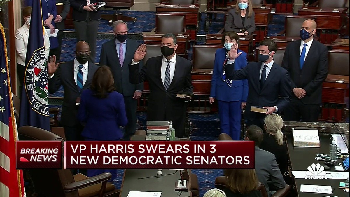 BREAKING: Democrats take Senate control as three new members are sworn in by Vice President Harris https://t.co/6rGMoTZ4tE https://t.co/rOSVBXE4GY