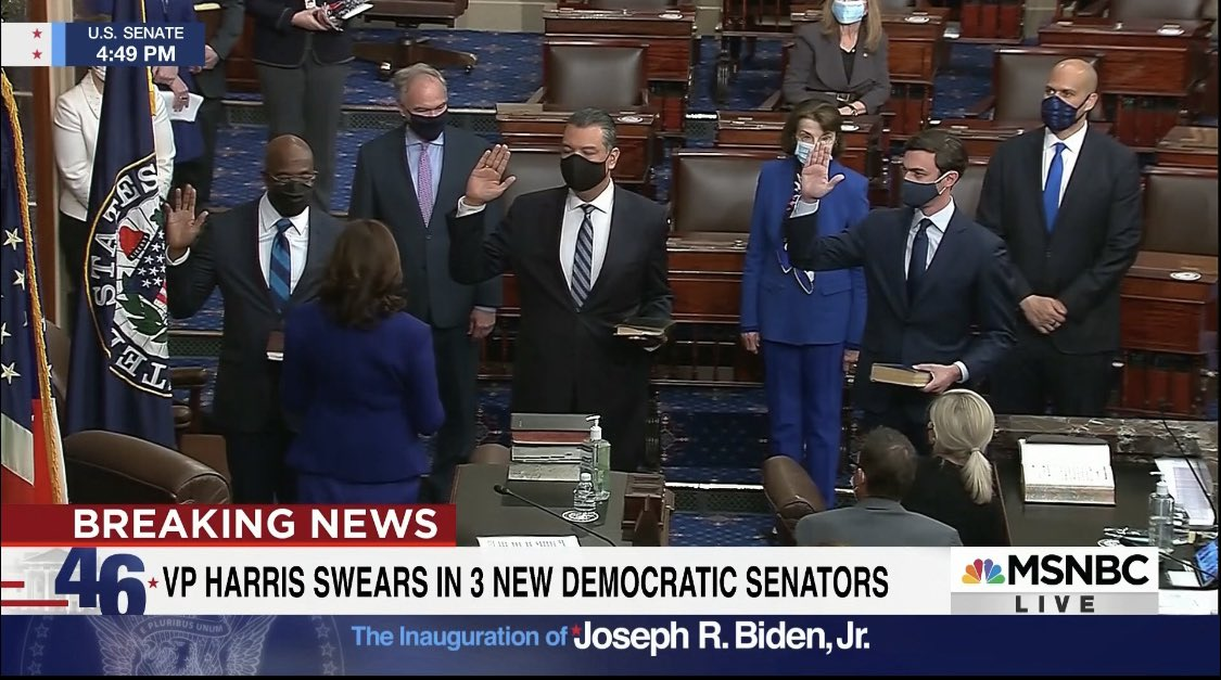 A Jewish man, Latino man, and Black man being sworn into the Senate by the first Black female Vice President—giving Democrats the majority.