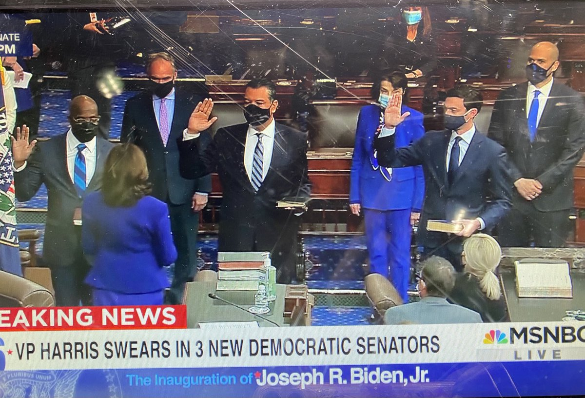 This is amazing. The Black woman Vice President swears in three new Democratic Senators: one Black, one Jewish, one Latino. This is New America. Hallelujah. https://t.co/kXGUoNeqEV