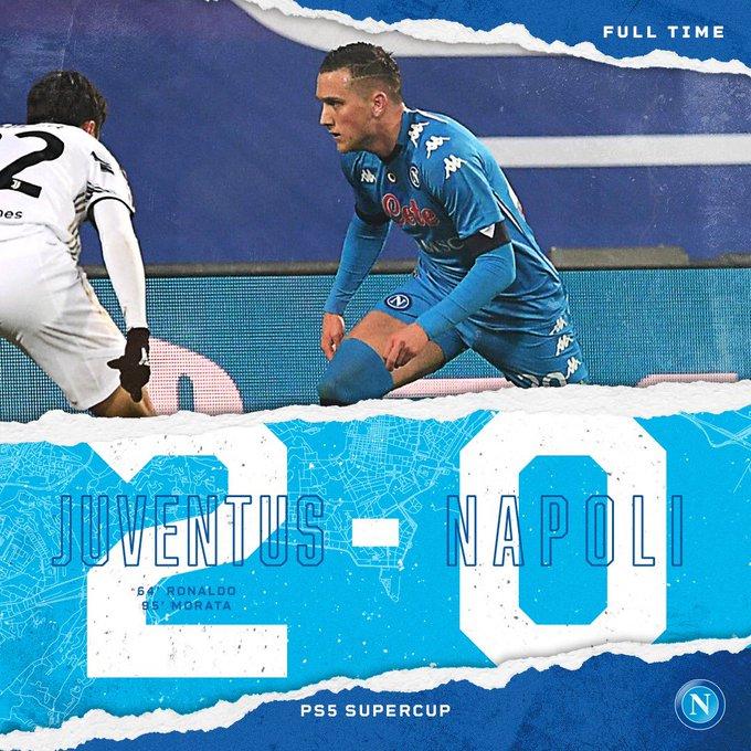 ⏱ 90+5   Full time   #JuveNapoli 2-0 #PS5Supercup  💙 #ForzaNapoliSempre