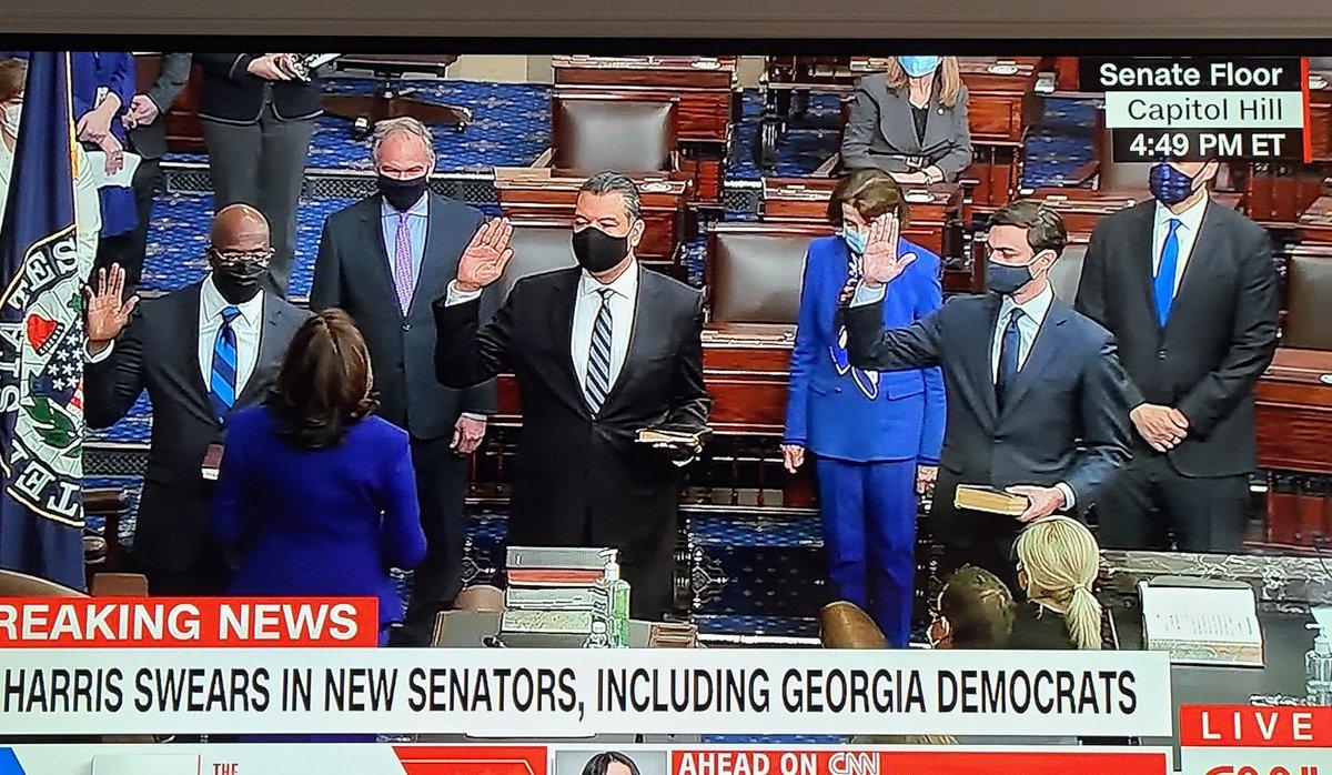Replying to @jemillerwbal: More history. @VP has sworn in 3 new senators, giving Democrats a slim majority in the US Senate