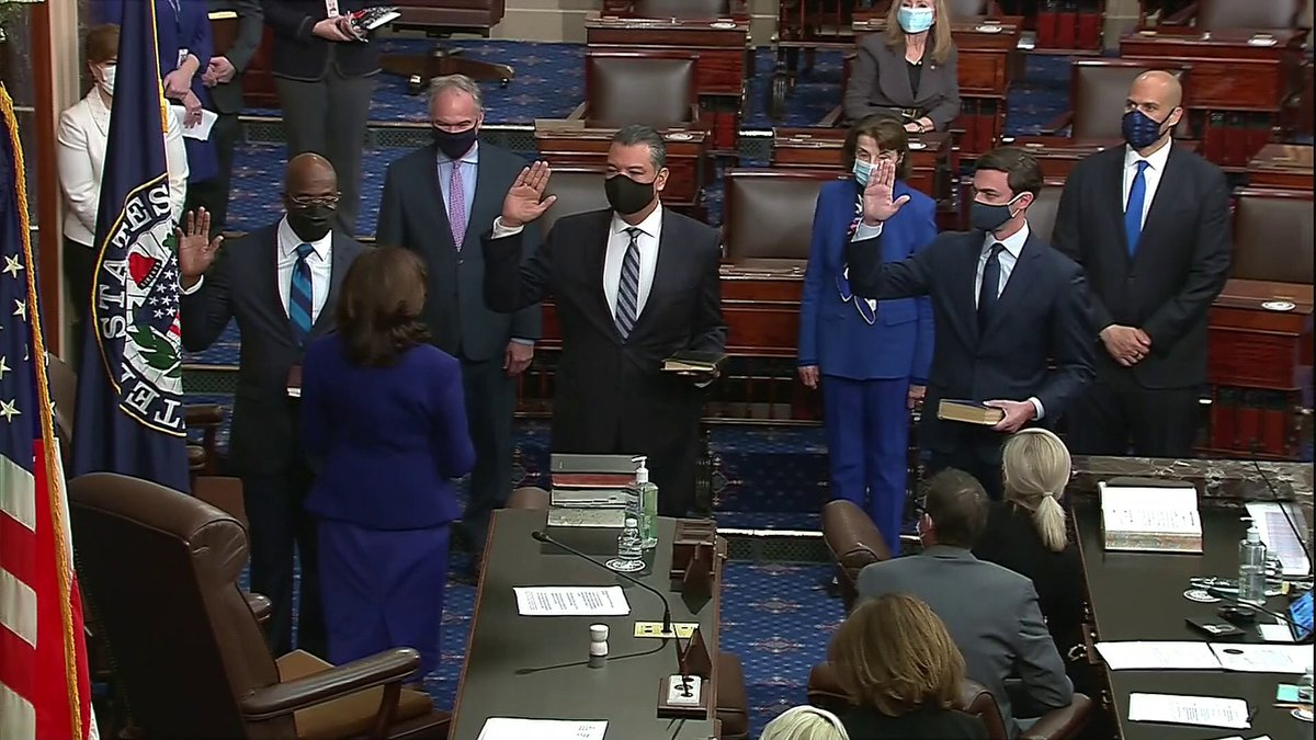 BREAKING: Democrats gain control of US Senate as VP Harris swears in Jon Ossoff, Raphael Warnock and Alex Padilla as the chamber's newest members.