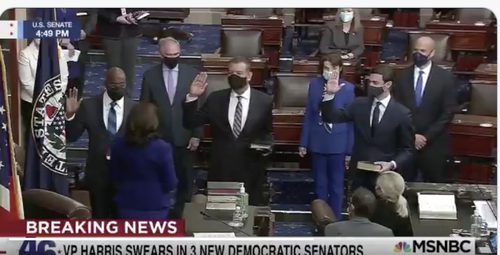 Well, that's one for the history books:  our country's first Black and South Asian vice president, just swore in our first Black and Jewish Georgia senators.  God Bless America 🇺🇸