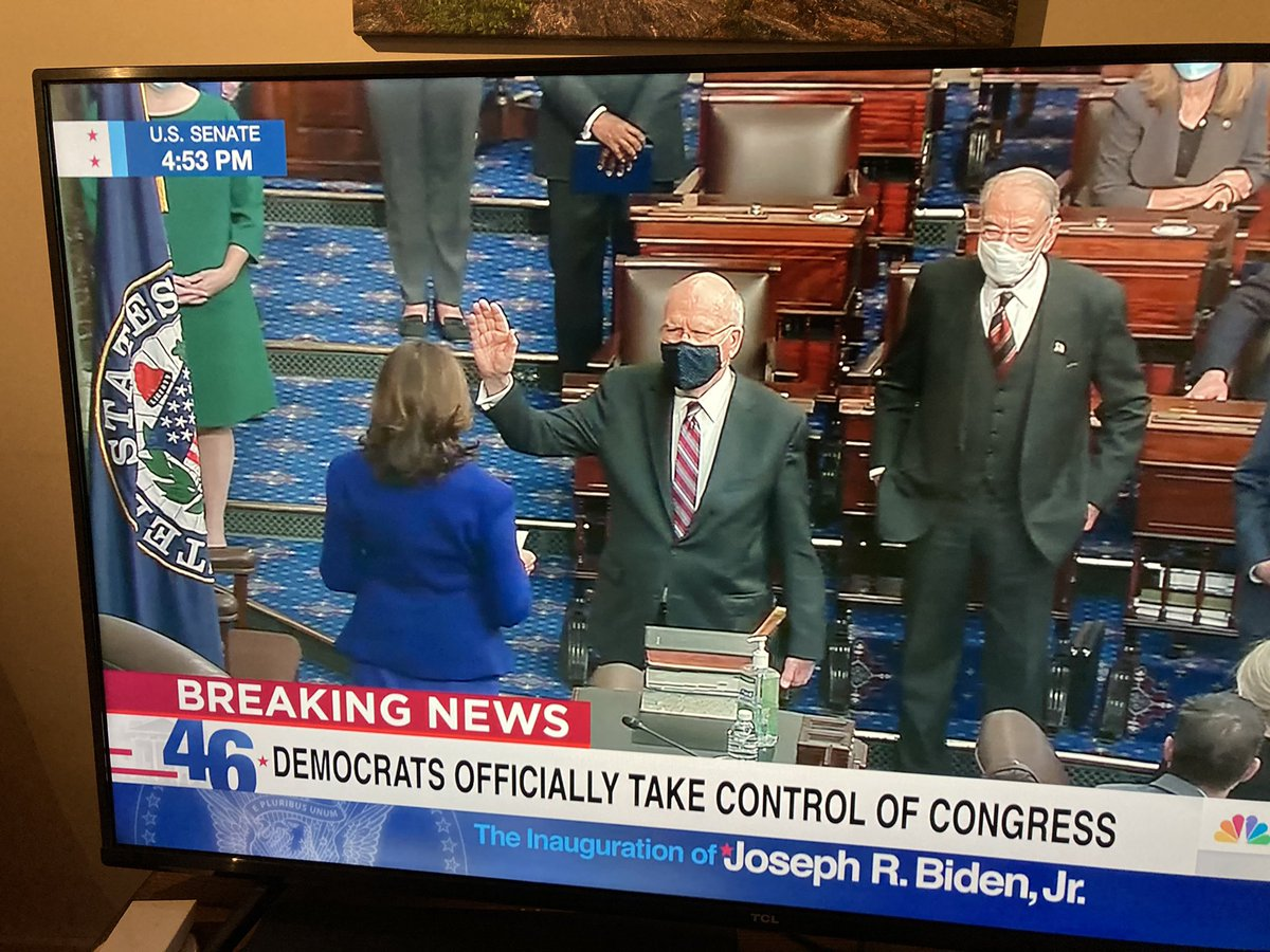 My neighbor and fellow Vermonter, @SenatorLeahy sworn in by Madam Vice president! #Vermont let's go!