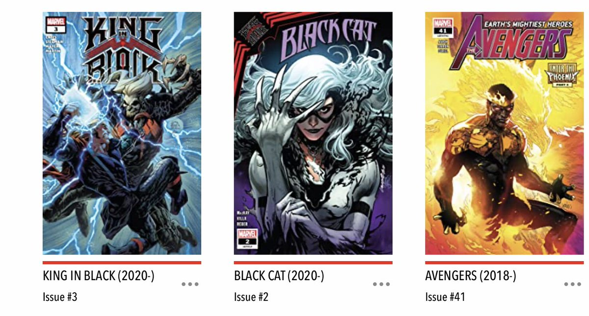 Outside may be grey and rainy but there's always something to cheer you up - today it's #NCBD! And my #MarvelsPullList is #KingInBlack, #Avengers and #BlackCat - and that's enough to make anyone smile I think
