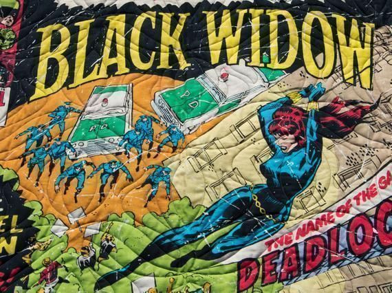#Marvel's #BlackWidow #Quilt Great for Young & Old #Superhero #Villians #Minky #Quilt What a great #Wedding, #Birthday, #holiday #mothersday or #Anniversary #fathersday #freeshipping to US