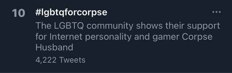 Been trending for a while (I know I'm late) but Twitter guy quickly got bored right? 'Internet personality and gamer'. That doesn't sit right w/ me. What about music personality next time? #lgbtqforcorpse