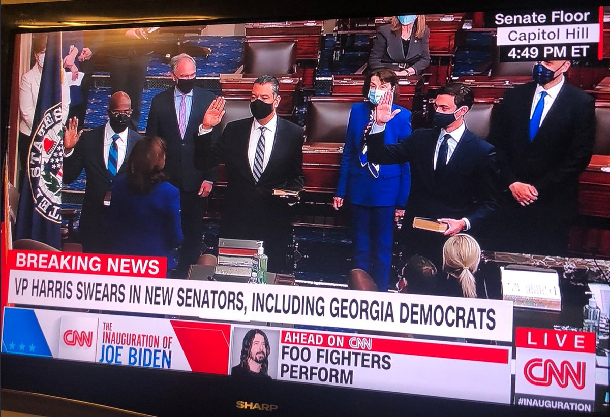 Warmest congratulations and best wishes to #Georgia's new U.S. Senators @ReverendWarnock and @Ossoff, and California's @SenAlexPadilla, just sworn in by Madam @VP Kamala Harris.  #InaugurationDay #MadamVicePresident https://t.co/mXk7d5bwsx