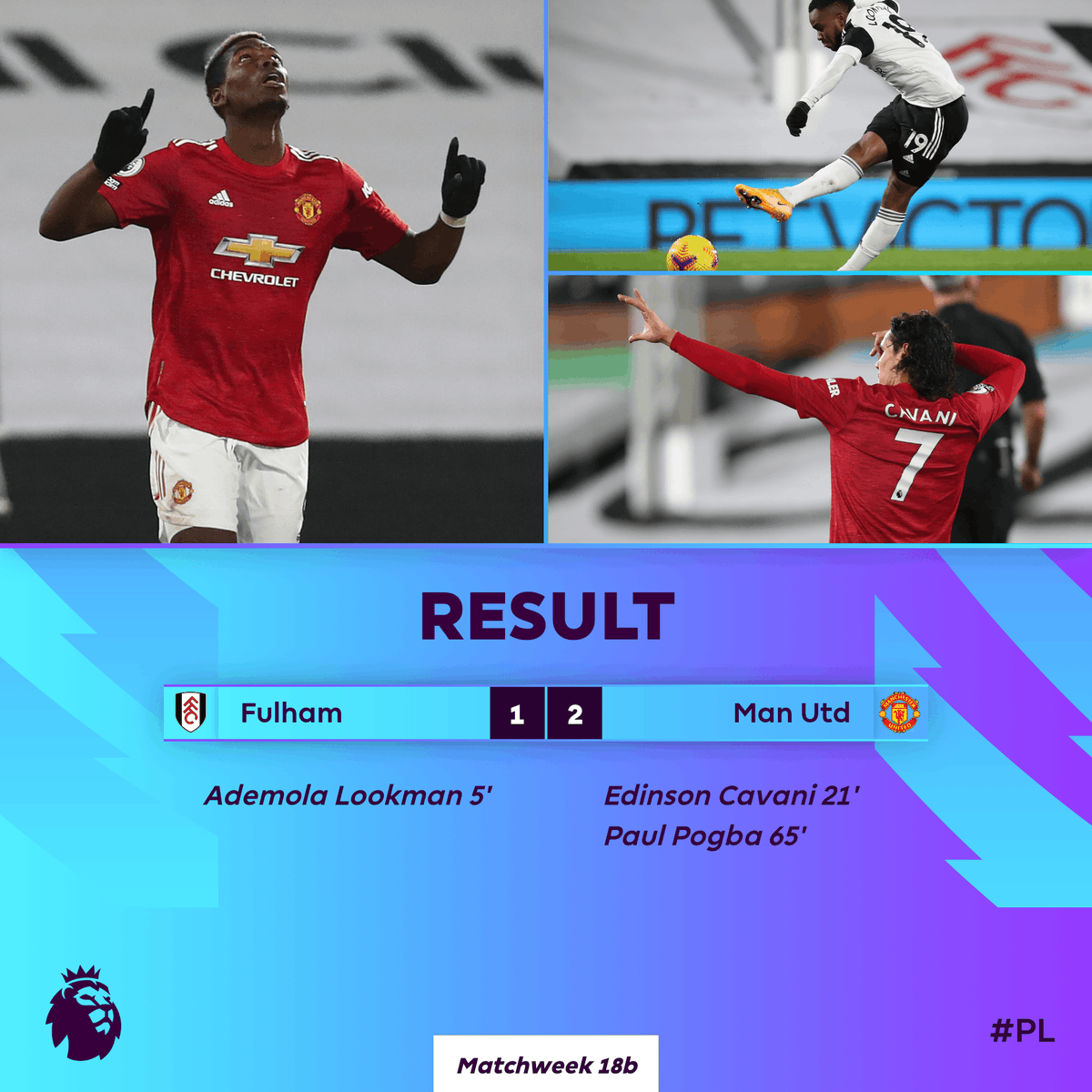 Man Utd come from behind to win in the #PL for the 7️⃣th time this season 👏  #FULMUN