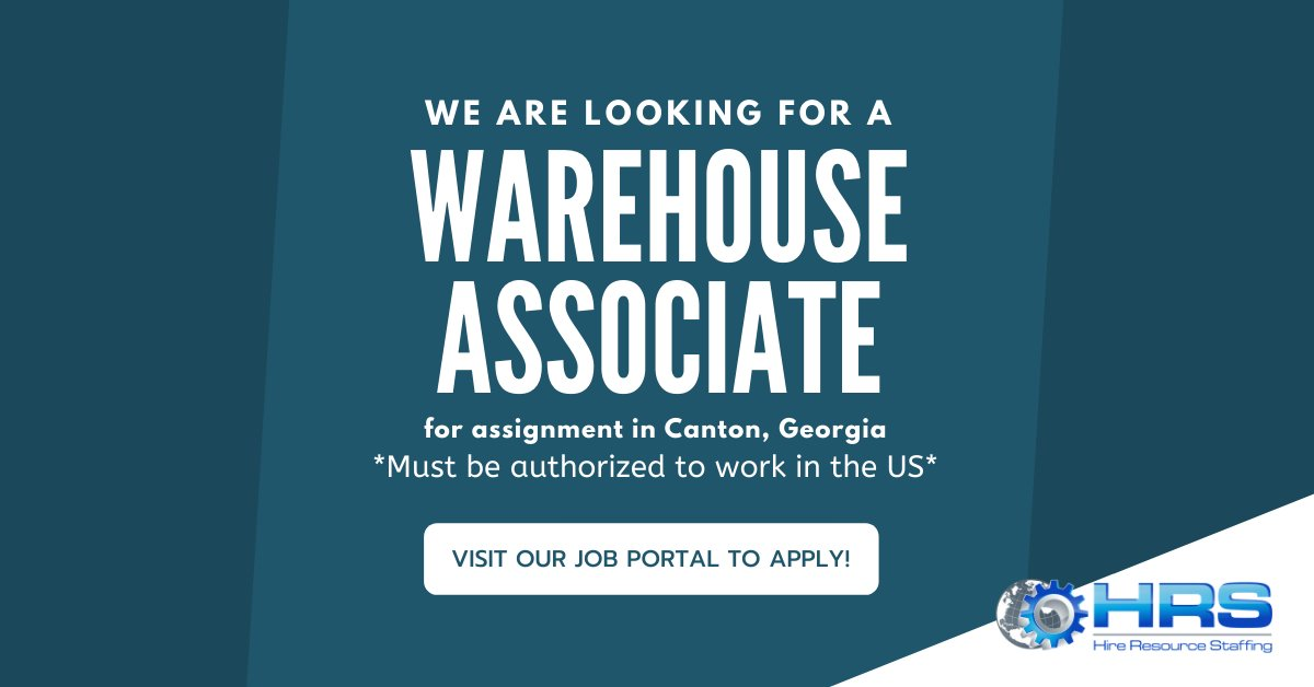 New job opportunity! We are hiring a Warehouse Associate for an assignment in Canton, Georgia, to apply and for more information please visit the following link: https://t.co/gFqHL6hvjS #Warehouse #WarehouseJobs #Canton #Georgia #CantonJobs #GeorgiaJobs #employment #wearehiring https://t.co/Z1x0KBWosv