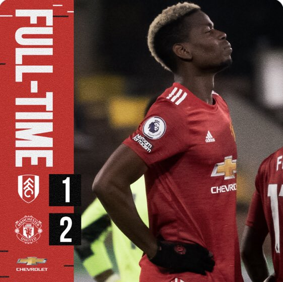 FULL-TIME!  FULHAM ⚫️ 1-2 MANCHESTER UNITED 🔴  WHAT A WIN 😍  #FULMUN #MUFC 🔴