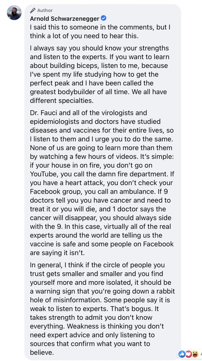 Professor @Schwarzenegger's Facebook class is back in session in the comments on his vaccine video. https://t.co/47rmniAK5M