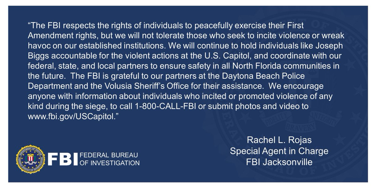 HAPPENING NOW: Special agents from #FBI #Jacksonville have Joseph R. Biggs of Ormond Beach, FL in custody for his role in the riot and assault on the U.S. Capitol on Jan. 6, 2021. Thanks to @DaytonaBchPD @VolusiaSheriff and @USAO_MDFL More here: justice.gov/opa/investigat….
