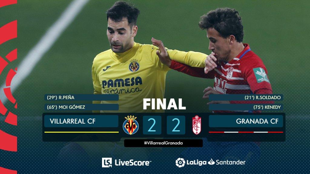 FINAL #VillarrealGranada 2-2  ¡Reparto de puntos entre @VillarrealCF y @GranadaCdeF! 🛡  #ResultadosLS  #LaLigaSantander  #HayQueVivirla