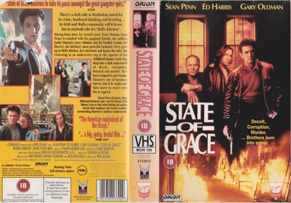 Original rental vhs artwork of the film #StateOfGrace starring Sean Penn and Ed Harris and directed by Phil Joanou #Tbt #artwork #bluray