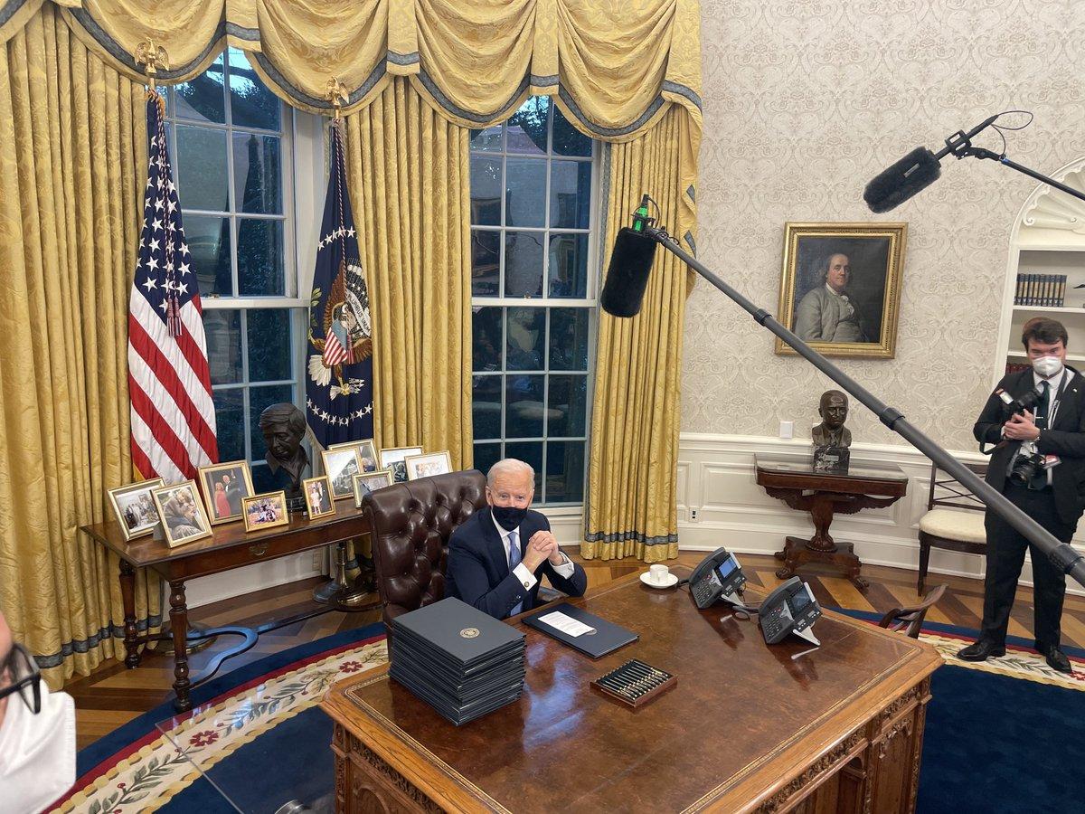 Biden in the Oval signing executive actions https://t.co/125JOp1ZaV