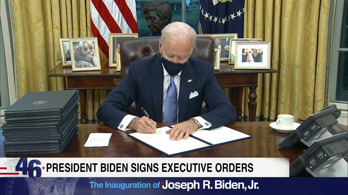 WATCH: Biden signs first executive orders.  @LACaldwellDC and @mmurraypolitics join us with more  Watch NOW: