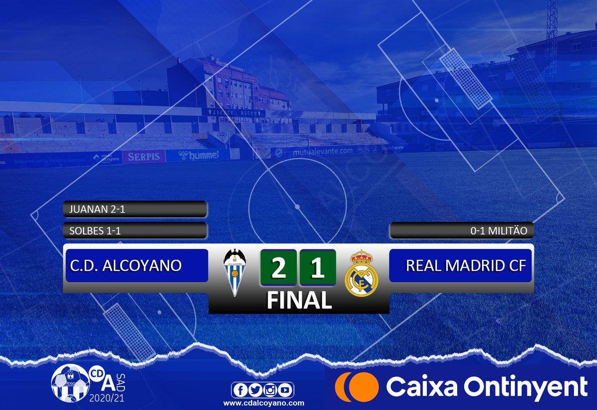 ⏰ 30' | Prórroga @CD_Alcoyano 2️⃣ - 1️⃣ @realmadrid  ¡¡¡¡el @CD_Alcoyano GANA al @realmadrid!!!! El Deportivo ha pasado a octavos de final de la Copa del Rey. El equipo está imparable 🔵⚪🔵💪  #elequipodelamoral #lequipdelamoral
