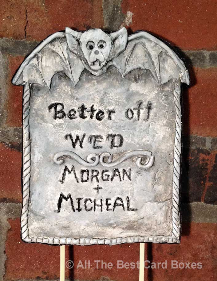 Halloween Gothic Wedding Cake Topper. Handmade Bat Tombstone  #gray #halloween #black #wedding #gothic #weddingcaketopper #gothicweddingdress #gothichomedecor #tombstone