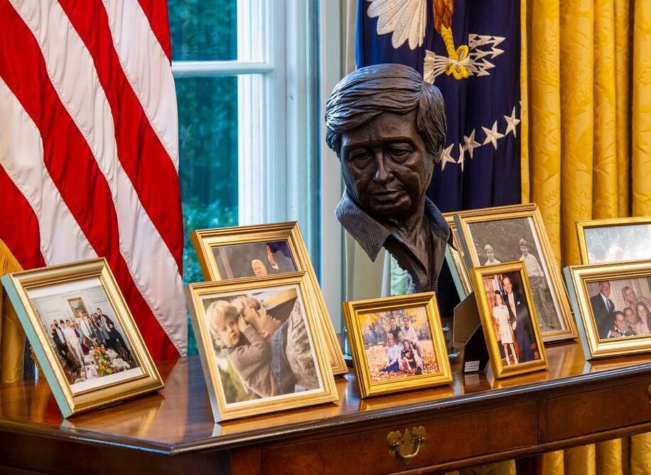 Another major Oval Office upgrade: A bust of labor organizer Cesar Chavez where Fred Trump used to be