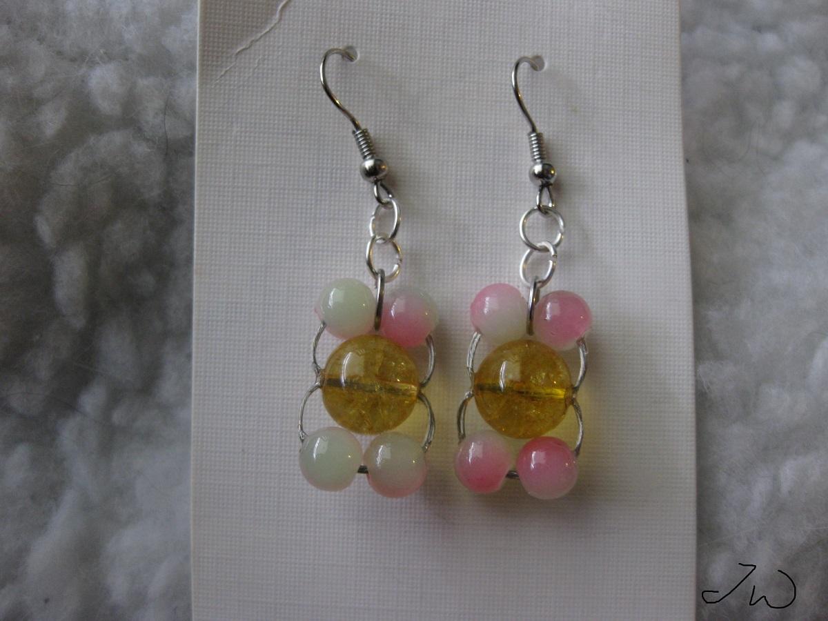 Yellow Amber Bead Stainless Steel Earrings with 4 apple Crystal beads    #earrings #amber #Crystal #bead #yellow #pink #green #stainlesssteel #Dangle #silver #chain #jw #handmade #handmadejewelry #HandmadeLove #depop #paypal #party #boho