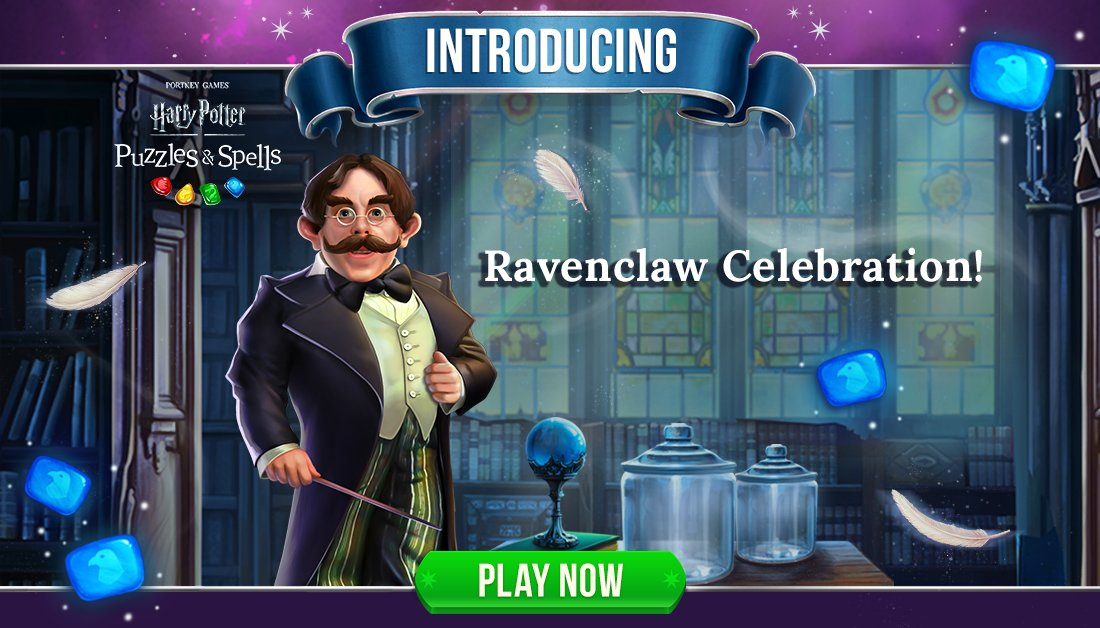 Those of wit and learning will always find their kind. Participate in #RavenclawCelebration by collecting Blue Gems inside main progression puzzles.  Play Ravenclaw Celebration NOW ➡️   #HarryPotterPuzzlesAndSpells #Match3 #Ravenclaw #Flitwick