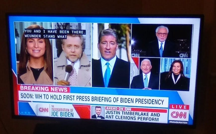 """""""Kaitlan stop laughing"""" Three of @CNN's best.  @wolfblitzer @JohnKingCNN  has not aged one bit. @kaitlancollins  #CNN #CNNElection #WhiteHouse #POTUS46 #InaugurationDay"""