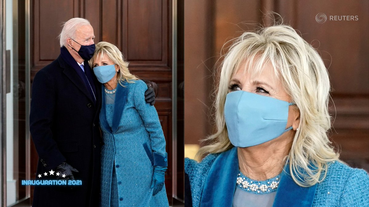 First lady Jill Biden wore an ocean blue dress and overcoat embellished with Swarovski pearls and crystals by Alexandra O'Neill from New York label Markarian. Her outfit included a matching silk face mask. 2/5 https://t.co/XAKBXyoorN