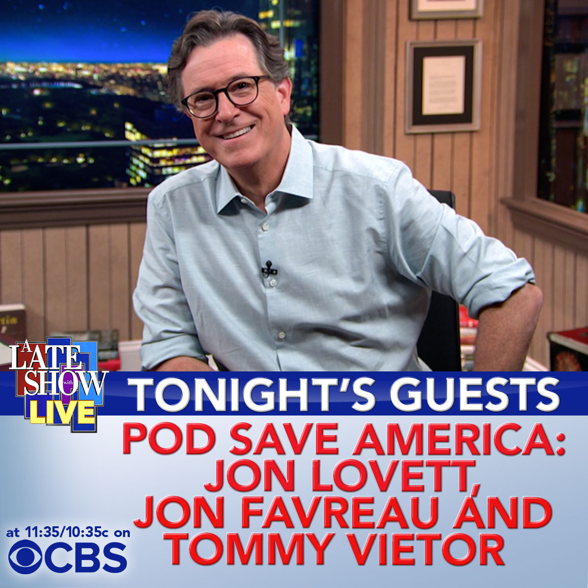 "TONIGHT: We got a LIVE show! We welcome the hosts of @PodSaveAmerica, @jonfavs, @tvietor08 & @jonlovett! Then a special musical performance of ""Together"" by Peter Cottontale, @chancetherapper, Cynthia Erivo, @ChiYSO, Chicago Children's Choir & @imnotkofi! #LateShowLIVE"