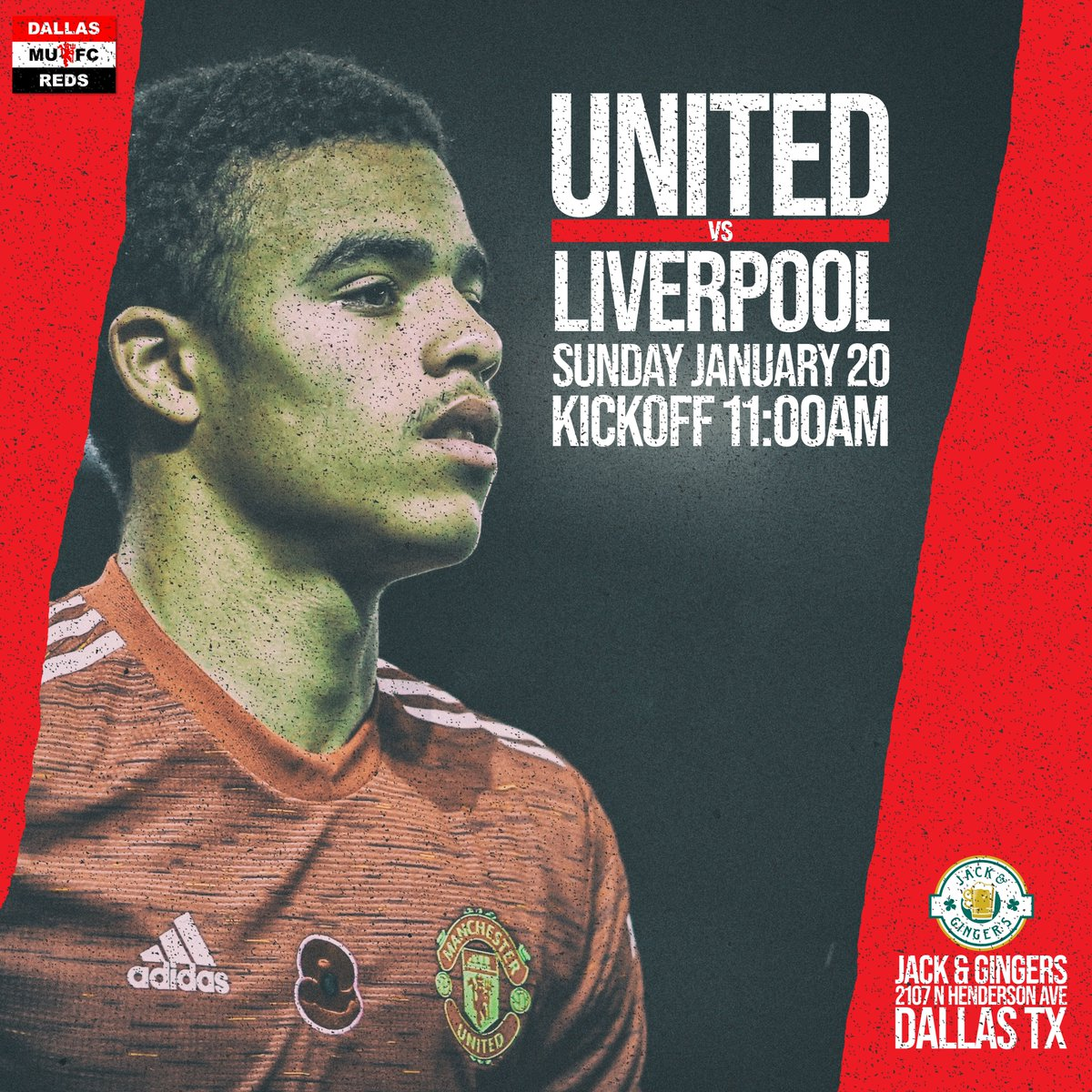 The biggest tie of the @emiratesfacup fourth round with #MUNLIV at the #TheatreofDreams Come join the official #MUSC of #DFW #Jacks #Dallas #Texas this Sunday morning. Kickoff at 11:00am. Event in bio - Click 'Going' and share with your friends. #DallasReds #FACup #UTFR #MUFC